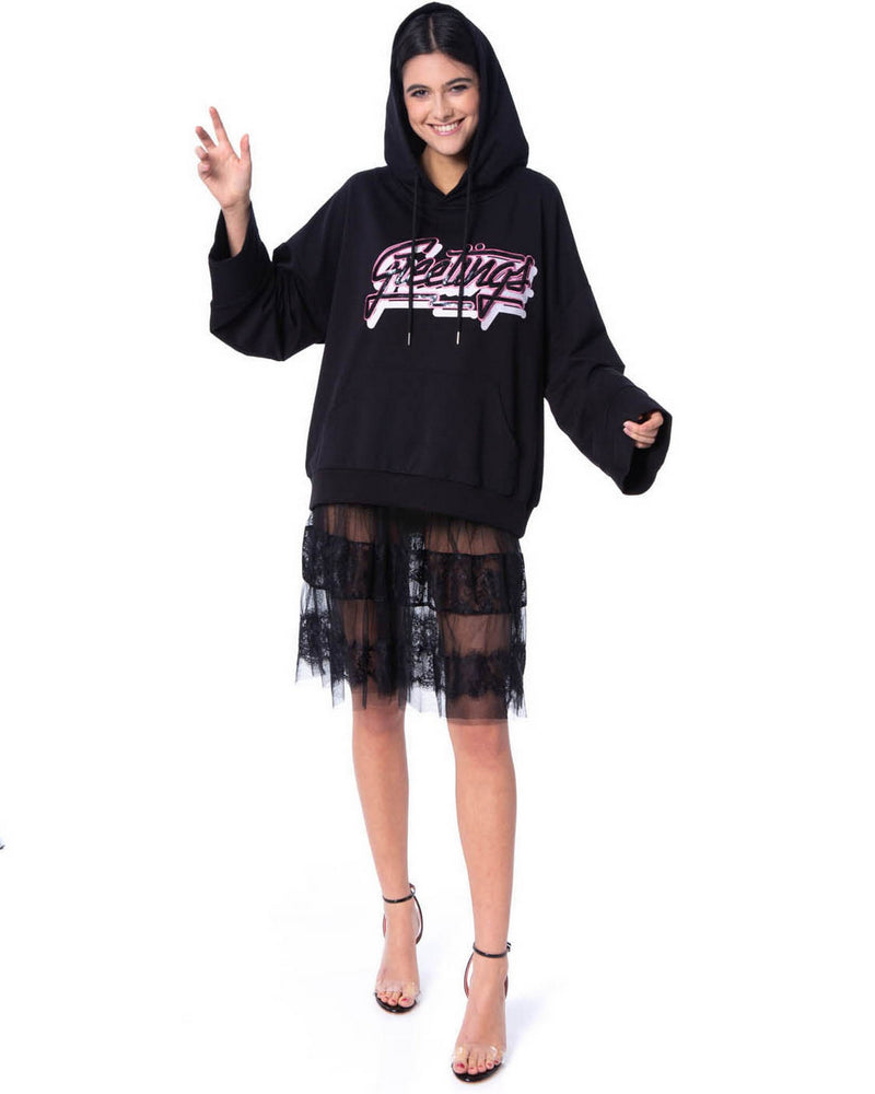 Sweatshirt with lace dress FRENTE