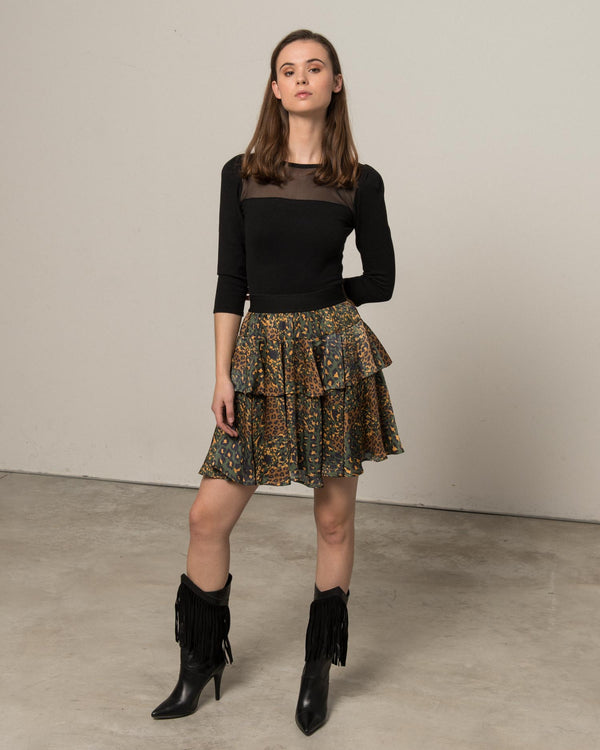 Flounce skirt with military spots