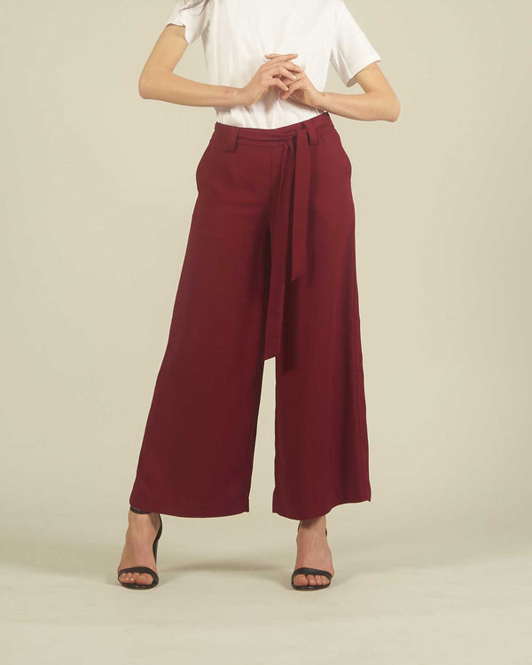 Trousers culotte with knotted beld