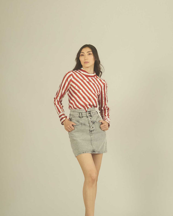 Striped micro-detailed shirt