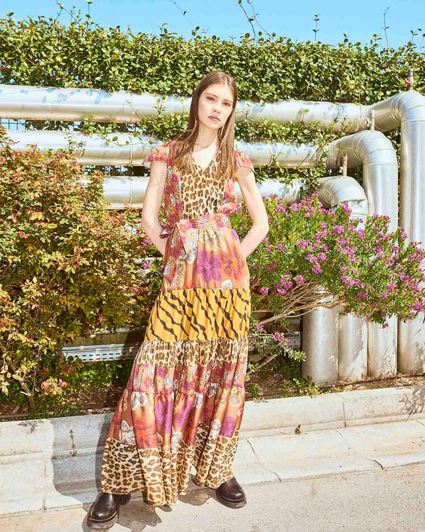 Long dress mixed pattern