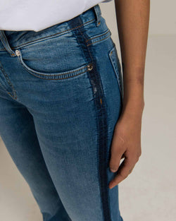 Jeans with band on side