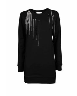 Fringed sweatshirt dress in rhinestones