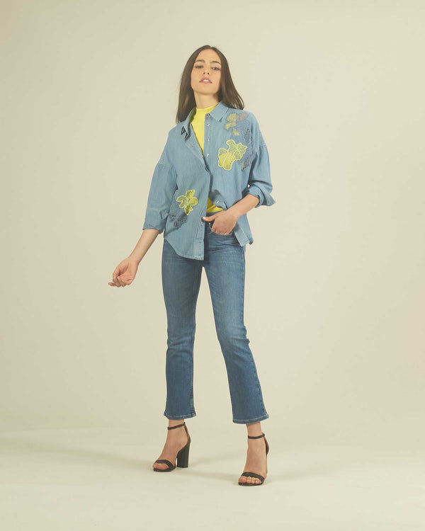 Denim shirt with embroidery
