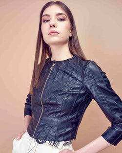 Hammered leatherette jacket