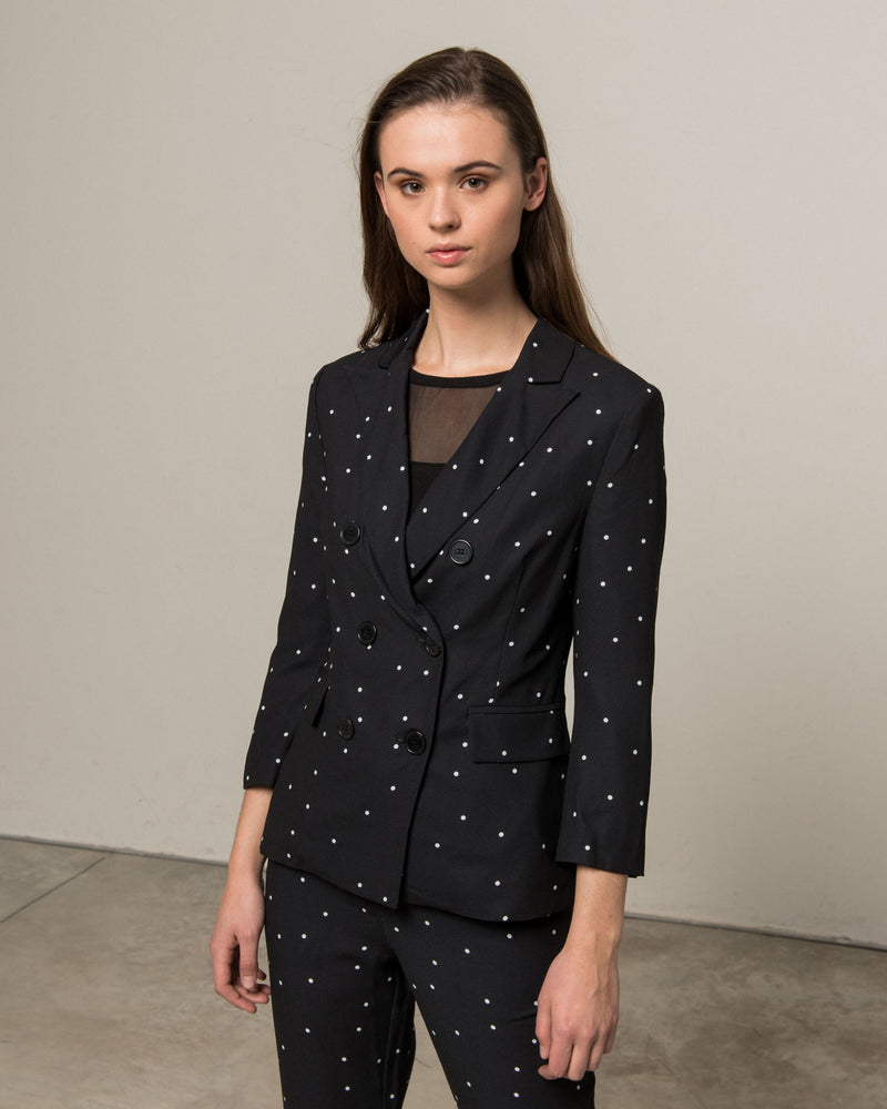 Double-breasted polka dots jacket