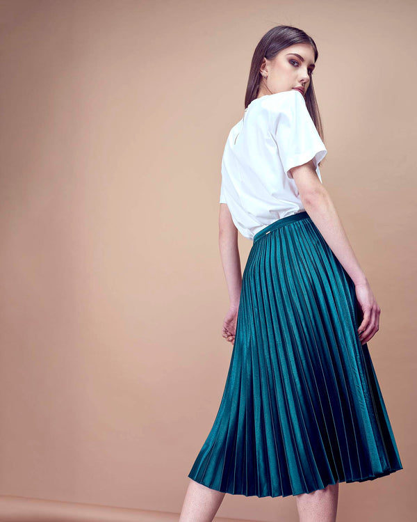 Longuette skirt in satin