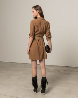 Shirt-dress with belt