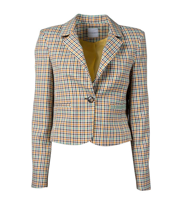Cropped jacket with check pattern