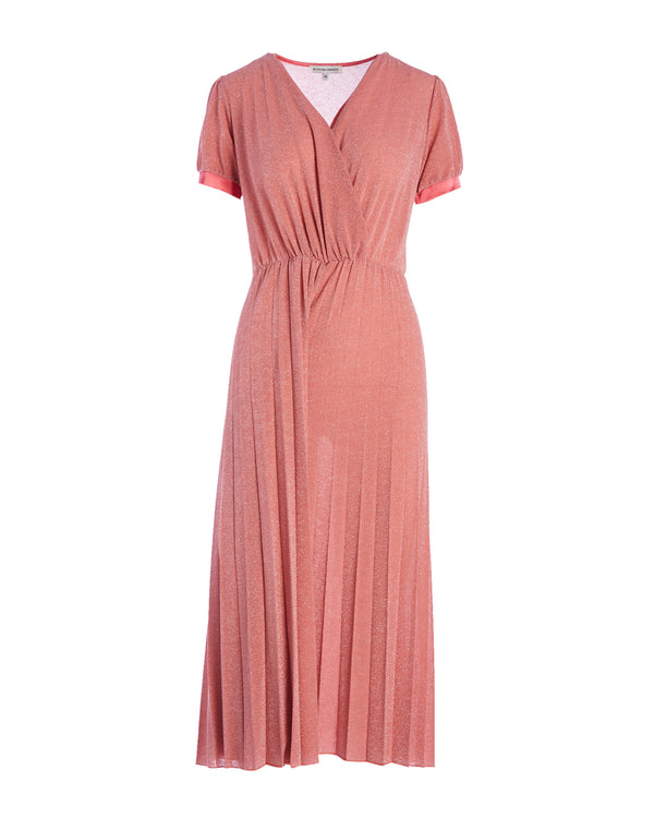 Midi dress with pleated bottom