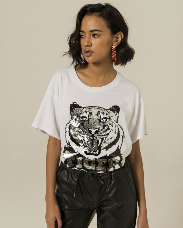 T-shirt with sequins tiger