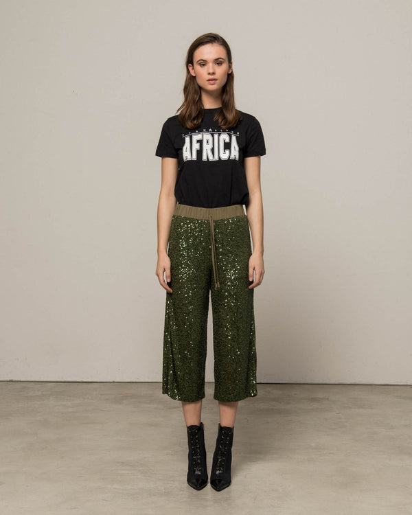 Military trousers with sequins