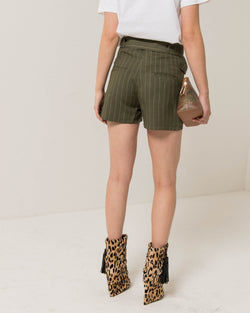 Pinstriped military shorts