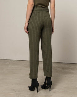 Crop pinstriped trousers