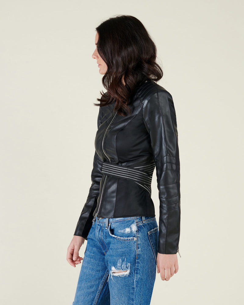 Waisted leatherette jacket