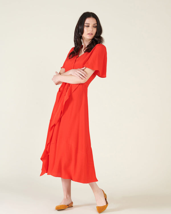 Midi dress with volant