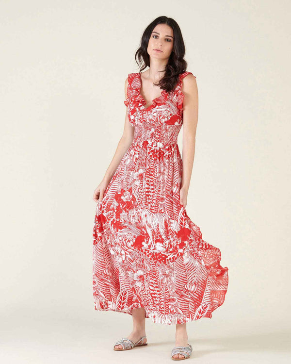 Long dress with floral pattern