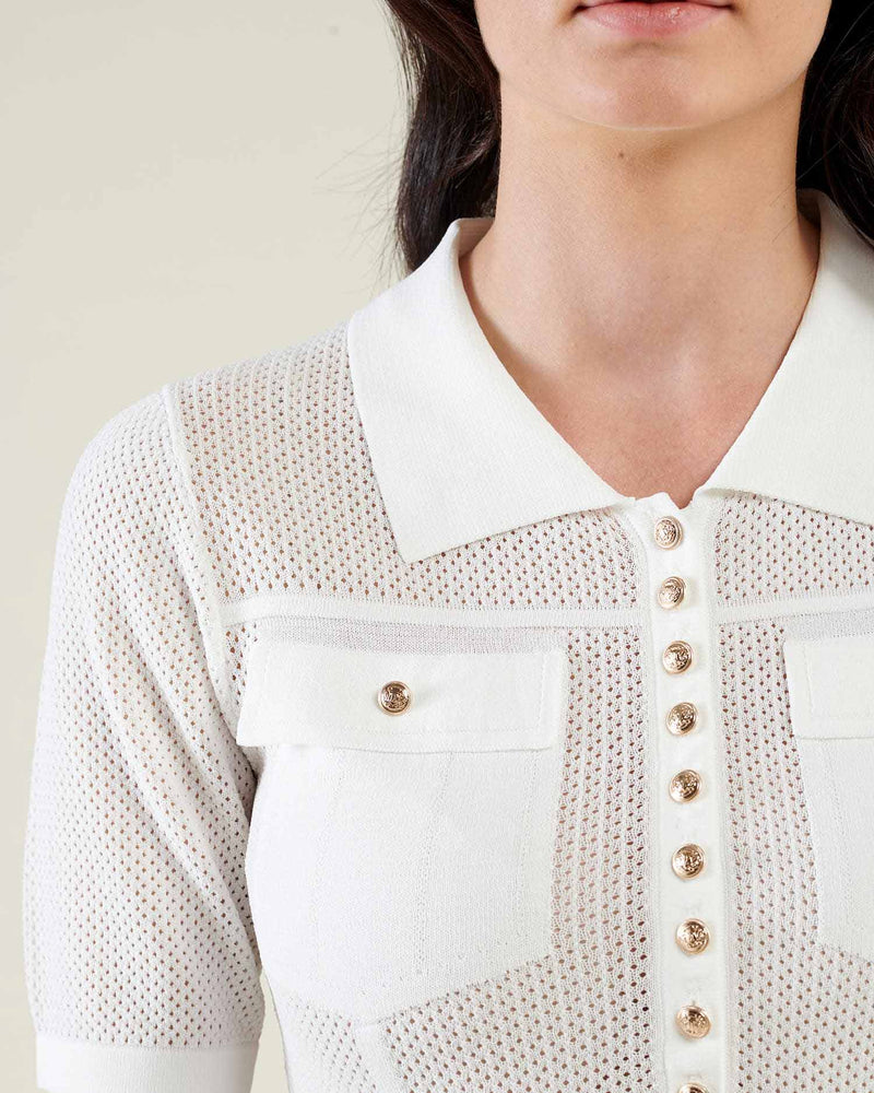 Openwork short sleeves sweater