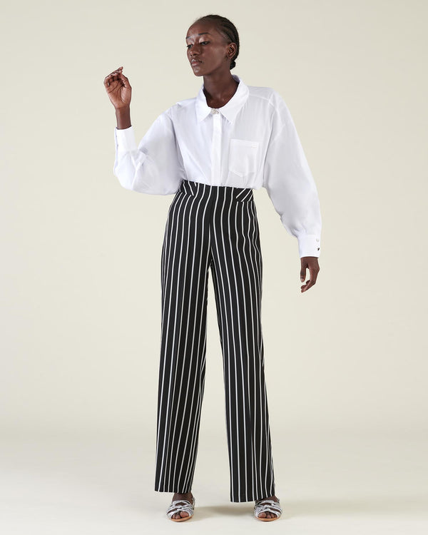 Pinstriped high waist trousers
