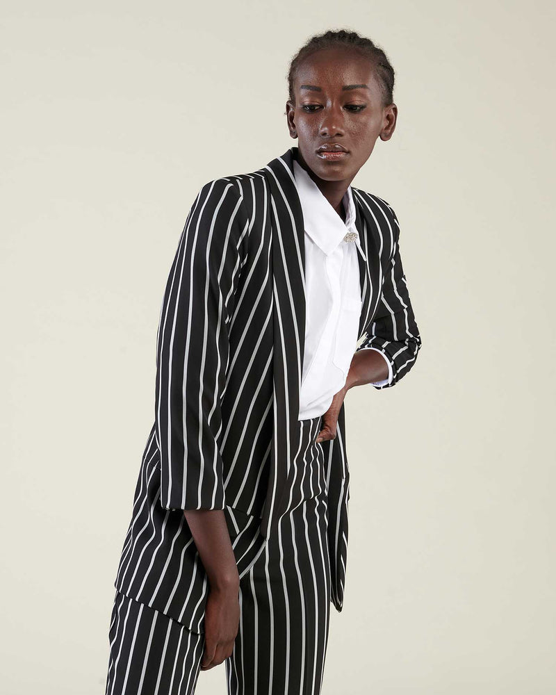 Pinstriped blazer three-quarter sleeves
