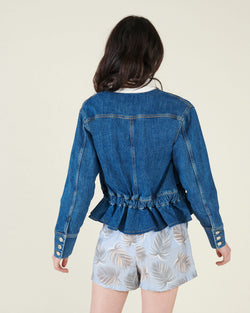 Denim jacket with drawstring