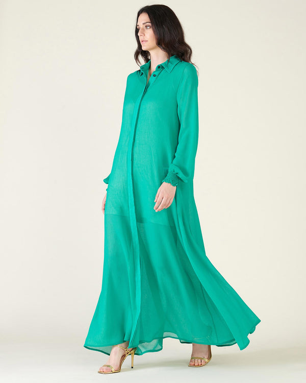 Long dress with puff sleeves