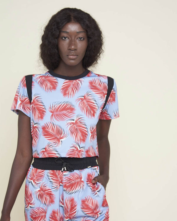 Cropped t-shirt tropical pattern