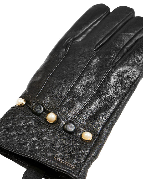 Leather gloves button details