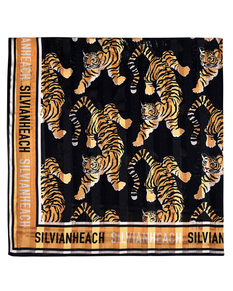 Square scarf with tiger print
