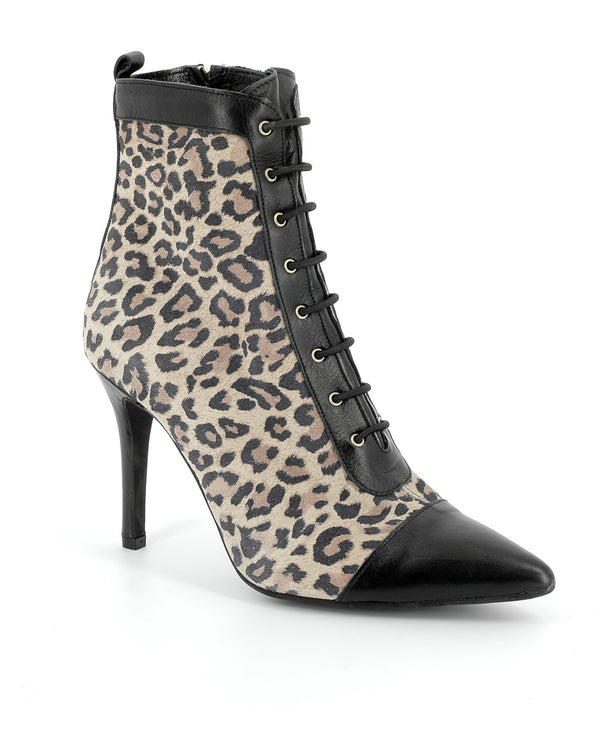 Spotted leather ankle boots