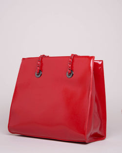 Varnished effect square bag