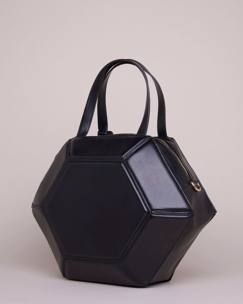 Hexagonal rigid handbag