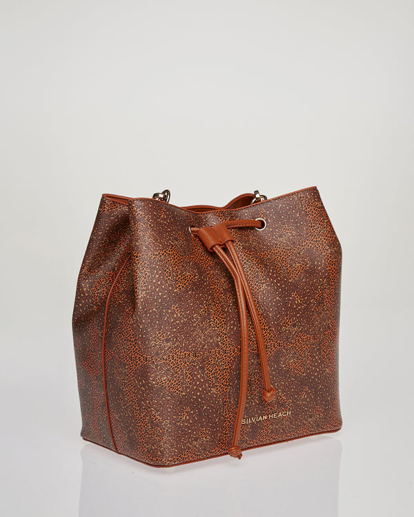 Bucket bag with animal pattern