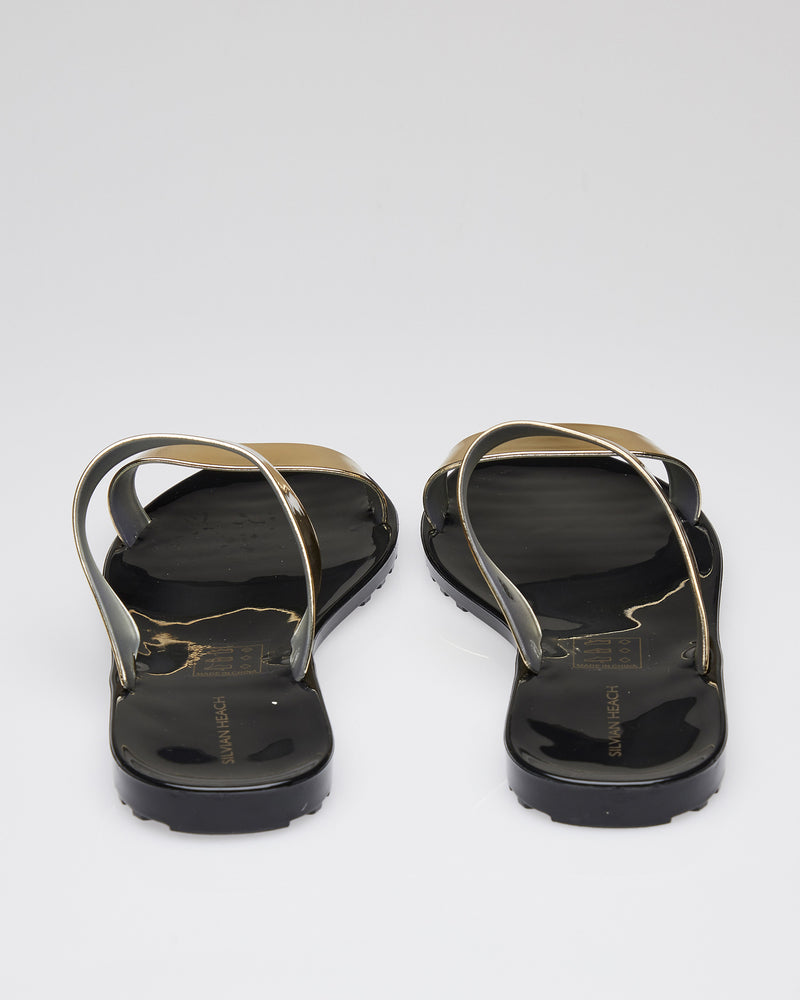 Sandals with gold bands