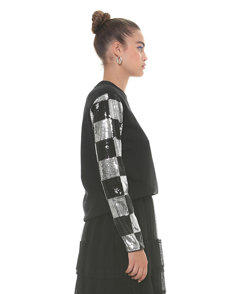 Sweatshirt with chess pattern
