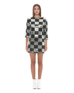 Dress with chessboard effect