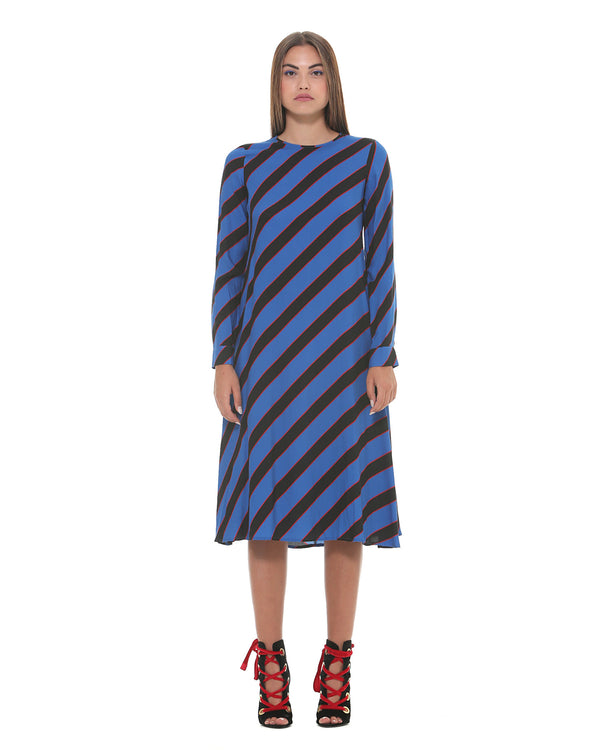 Midi dress with mixed pattern