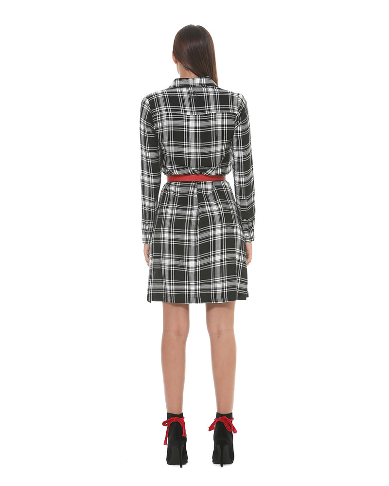 Shirt dress with square pattern
