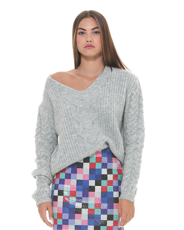 Sweater with weaving