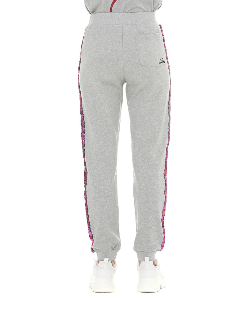 Sporty trousers with glitter bands