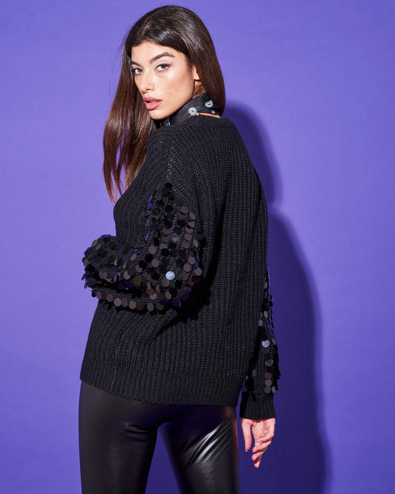 SWEATER WITH SEQUINED SLEEVES