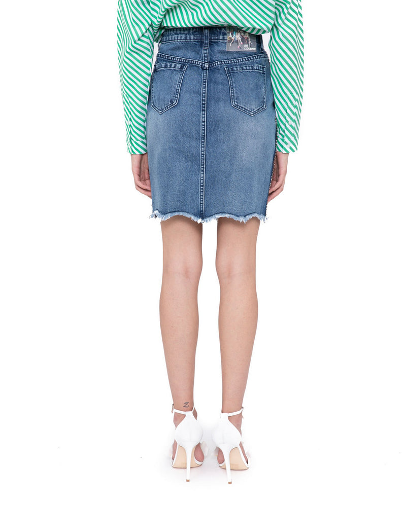 Denim skirt with strass stitching LAJAS