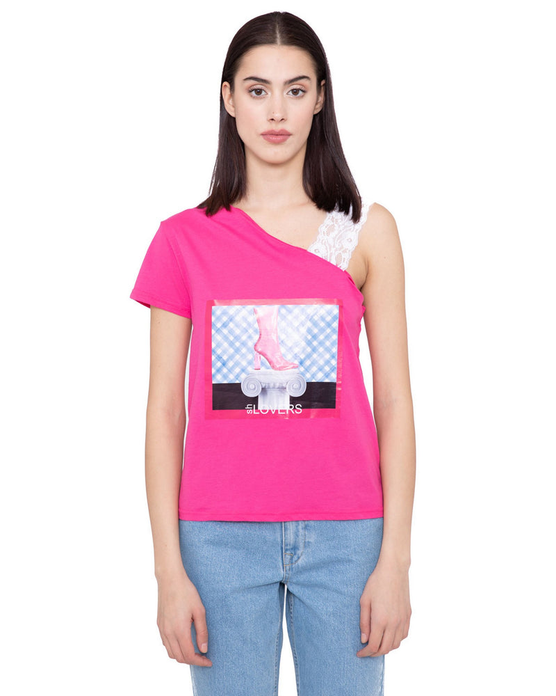 T-shirt one shoulder EKWOK