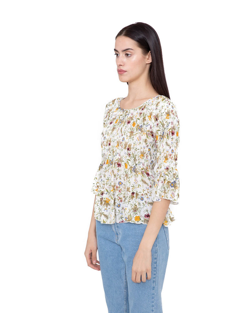 Blouse with crimped effect RONGELLON