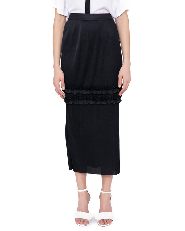 Longuette skirt with spare ribs GAKONA
