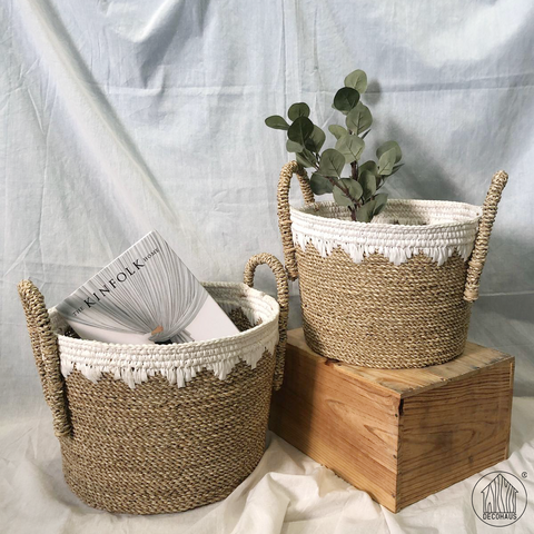 NAOMI Seagrass-Knit Multifunctional Storage Basket with handles