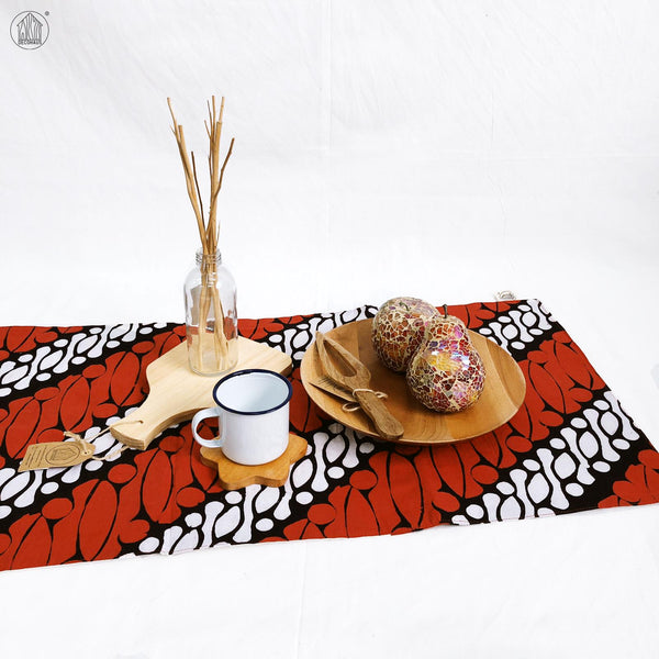PARANG BESAR Batik Handstamped Table Runner in Red