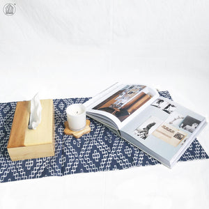 DIAMOND Batik Handstamped Table Runner in Steel Blue