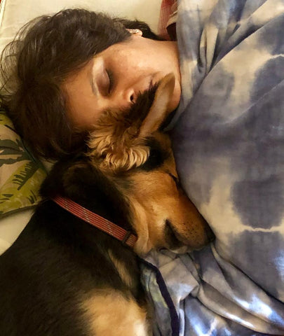 Dog sleeping with human