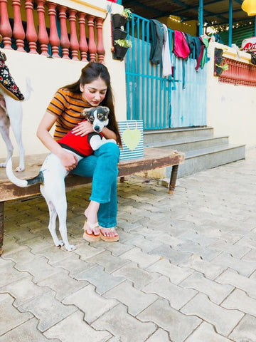 Woman with an indian dog